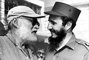 Author Ernest Hemingway, who lived on and off in Cuba, is shown with Cuban Prime Minister Fidel Castro in Havana, May 15, 1960.  (AP Photo)
